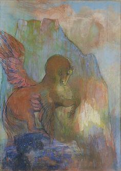 """Odilon Redon (French, 1840-1916), Pegasus, c.1895-1900. Pastel on paper, 67.4 x 48.7 cm """