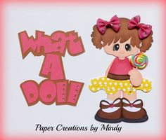ELITE4U lollipop girl what a doll  premade paper piecing scrapbooking page pink ~ DT Mindy