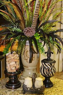 I love the candle holder filled with wine corks! Southern Charm http://southerncharmbyfarica.blogspot.com/#