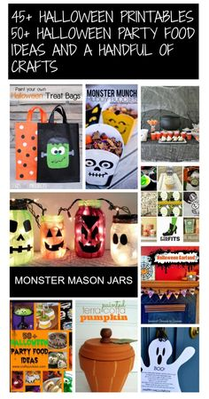 Everything you need for Halloween! 45+ Free Halloween Printables, 50+ Halloween party food ideas and a handful of simple crafts.