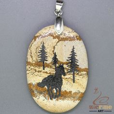 JEWELRY NECKLACE ENGRAVED HORSE NATURAL PICTURE JASPER PENDANT BEAD ZL0002005 #ZL #Pendant