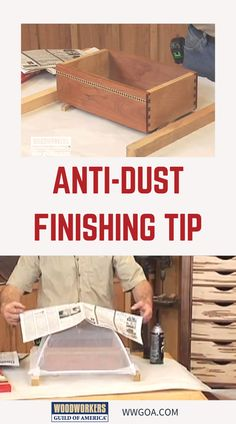 Most woodworkers have some airborne dust and particulates floating in their shop, and some of those particles can settle on a not-quite-dried finish. George Vondriska demonstrates a neat and inexpensive trick for protecting small woodworking projects from dust when finishing. A WoodWorkers Guild of America (WWGOA) original video. Small Woodworking Projects, Woodworking Tips, Wood Projects, Woodshop Tools, Wood Finishing, Home Repair, Painting Tips, Diy Stuff, Wood Working