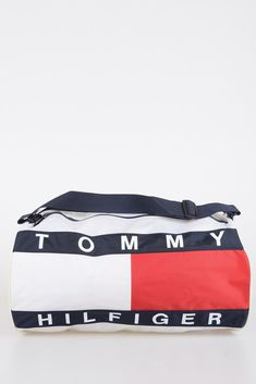 72d98e03cb52 TOMMY HILFIGER New Unisex NYLON FLAG DUFFLE Travel Gym Bag Tote  139 White  Red  fashion  clothing  shoes  accessories  unisexclothingshoesaccs ...