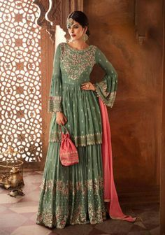 Online Shopping of Wedding Function Wear Sea Green Embroidered Sharara Suit In Georgette from SareesBazaar, leading online ethnic clothing store offering latest collection of sarees, salwar suits, lehengas & kurtis Pakistani Sharara, Lehenga Choli, Pakistani Dresses, Indian Dresses, Indian Outfits, Bridal Lehenga, Mehendi Outfits, Blue Lehenga, Sari