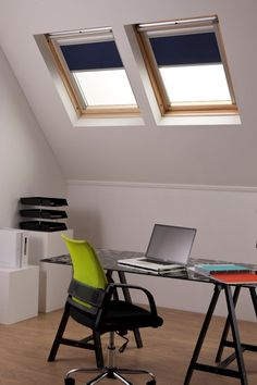 Convert your loft into a home office or study with Bloc Blinds skylight blinds. Made to measure with motorised options available. Order free blinds fabric swatches today.