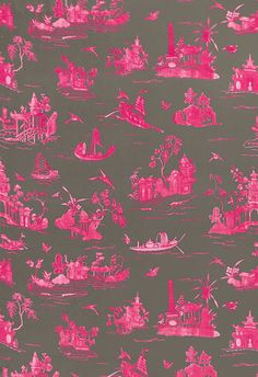 Fuchsia on grey Chinoiserie
