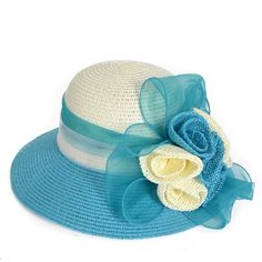 Lady Dress Straw Cloche Sweet Cute Floral Bucket Hat Bridal Church Derby Cap W204 - Turquoise - CE17YCUWGZH - Hats & Caps, Women's Hats & Caps, Sun Hats  #sunhats #suncaps #womenhats #summeroutfits #hats