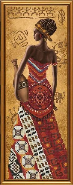 New Bead Embroidery Kit African with a Jug by Nova Sloboda Manufacture African American Artwork, African Artwork, Embroidery Kits, Beaded Embroidery, African Beauty, African American Women, African Art Paintings, Art Africain, Africa Art