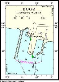 Kort & Matrikelstyrelsens oplysninger i Den danske Havnelods om Bogø Havn, også kaldet Lindebroen. Et egentligt færgeleje blev bygget i forbindelse med det store infrastrukturprojekt i området i 1943.