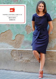 digital bistro dress sewing pattern-This semifitted sheath dress is designed to be flattering while also allowing you to move and to be comfortable. It includes a sash and belt loops for a more fitted look, and the pattern includes options for a wide vari Dress Making Patterns, Easy Sewing Patterns, Clothing Patterns, Pattern Sewing, Pdf Patterns, Sewing Clothes, Dress Sewing, Block Dress, Dress Tutorials