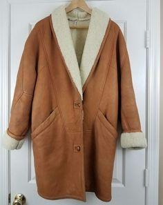 VTG 90's Hugo Buscati Carmel Brown Imported Lambs Wool Sherling Coat S/M  #HugoBuscati #BasicCoat #Outdoor