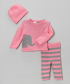 Look what I found on #zulily! Pink Elephant Sweater Set - Infant by Tots Fifth Avenue #zulilyfinds