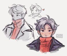 rough doodles of a soft bun