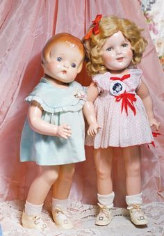 """EFFANBEE COMPOSITION DOLL """"PATSY ANN"""" in a tagged dress with Rare Shirley Temple """"Make-Up"""" Doll by Ideal -1930's - All Original"""