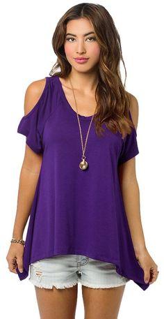 616b658f15f4e Women s Vogue Shoulder Off Wide Hem Design Top Shirt (Large