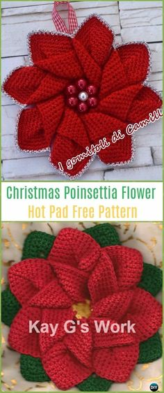 Crochet Poinsettia Flower Hot Pad Free Patterns - Crochet Poinsettia Christmas Flower Free Patterns