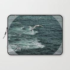 Sea+Foam+and+Seagulls+Laptop+Sleeve+by+ARTbyJWP+-+$36.00