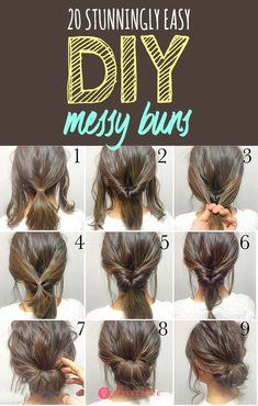 20 Stunningly Easy DIY Messy Buns: The best part about the messy bun is that it gives you the perfect I-just-got-up-and-I-look-this-awesome look in under 5 minutes! Read on to pick your favorite messy bun. for short hair 20 Stunningly Easy DIY Messy Buns Medium Hair Styles, Curly Hair Styles, Pixie Lang, Messy Bun Hairstyles, 5 Minute Hairstyles, Hairdos, Two Buns Hairstyle, Ponytail Hairstyles Tutorial, Greasy Hair Hairstyles