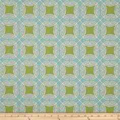 Swavelle/Mill Creek Indoor/Outdoor Saturnia Oasis from @fabricdotcom  Screen printed on polyester, this fabric holds up to 500 hours of sunlight exposure, resists stains and is water resistant.  Colors include aqua, light blue, ivory and kiwi green.