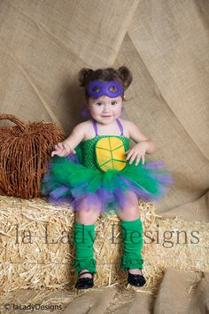 Ninja Turtle TuTu Dress and Mask SET Donatello by laLadyDesigns