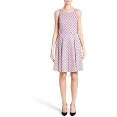 Women's Armani Collezioni Print Cotton Fit & Flair Dress ($775) ❤ liked on Polyvore featuring dresses, mosaic multi, cotton dresses, box pleat dress, flare dress, white day dress and white flared dress