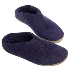 Buy Glerups Felt Mule - Petrol from Hus & Hem. The Glerups mule is the perfect slip-on slipper, quick and easy to get on and off, and ideal for year round wear. Blue Slippers, Ladies Gents, Leather Slippers, S Models, Wool Felt, Felted Wool, Slip On, Purple, Heels