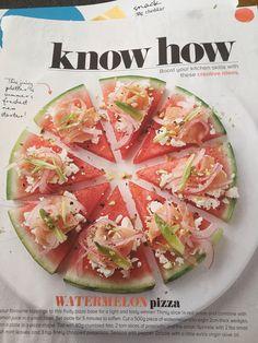 Watermelon pizza Why God Why, Watermelon Pizza, Creative Skills, Mat, Cheddar, Cantaloupe, Onion, Snacks, Fresh