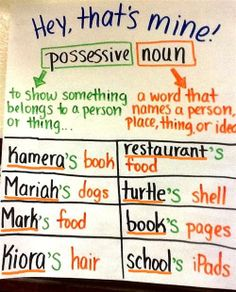 Singular Possessives Anchor Chart image only
