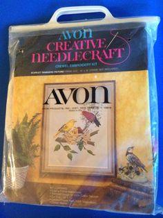 VTG 1994 Avon CREATIVE NEEDLECRAFT Crewel Embroidery Kit Scarlet Tanager Birds  | eBay