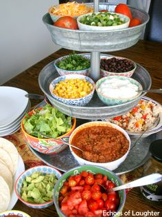 Mexican Salad & Taco Bar-Perfect For Families! - Echoes of Laughter - - Mexican Salad & Taco Bar-Perfect For Families! – Echoes of Laughter Food Mexikanischer Salat & Taco Bar – Perfekt für Familien Mexican Salads, Mexican Food Recipes, Ethnic Recipes, Taco Bar Recipes, Mexican Party Foods, Mexican Food Buffet, Mexican Fiesta Food, Mexican Dinner Party, Mexican Night