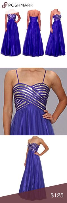Stunning Formal Prom, Pageant, Wedding Gown Dress ✔Beautiful, royal blue with silver sequins Jump Appareldress  ✔ Fully lined with an extra smooth material liningunder the skirt to protect from the attached crinoline petticoat  ✔Back zip closure. Can be worn strapless or w/ 2detachable straps   ✔Except for a tiny, unnoticeable to the naked eye spoton the back, the dress is in excellent, new, unused, unworn,well packaged & sealed condition with tags. You might have to steam it upon…