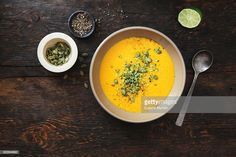 Stock Photo : Pumpkin soup with coconut and seeds Ham And Bean Soup, Ham Soup, White Bean Soup, Turnip Soup, Sweet Corn Soup, Fruit Soup, Veggie Chili, Loaded Potato Soup, Recipes With Few Ingredients