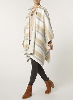 Camel and Ivory Stripe Cape - Dorothy Perkins