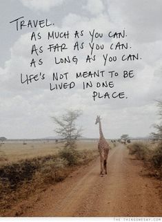 Travel as much as you can, as far as you can, as long as you can.  Life's not meant to be lived in one place.