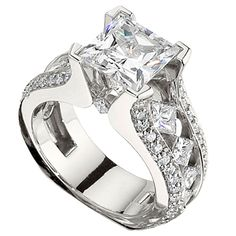 channel set princess cut engagement ring with side diamonds