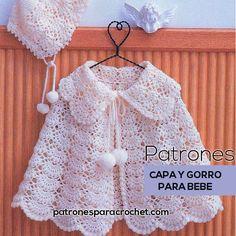 patrones crochet de capa y gorro para bebe en punto abanico puff