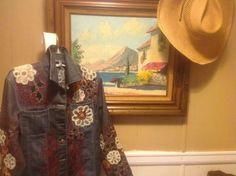 Boho Denim jacket embroider with hippy flowers by sheerindulgence