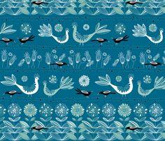 Blackbird Blue fabric by kayajoy on Spoonflower - custom fabric