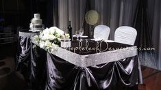 silver and black wedding decorations Head Table Wedding Decorations, Head Table Decor, Wedding Centerpieces, Wedding Table, Head Tables, Centerpiece Ideas, Fall Wedding, Dream Wedding, Silver Wedding Favors