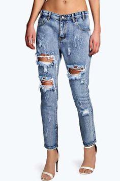 Sara Relaxed Fit Open Leg Zip Boyfriend Jeans at boohoo.com