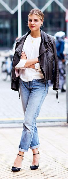 Make your denim jacket look feminine with a pair of ankle strap heels
