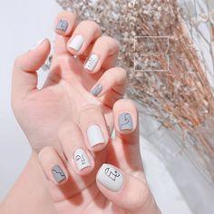 Stylish Nails, Trendy Nails, Cute Acrylic Nails, Gel Nails, Picasso Nails, Feet Nail Design, Asian Nails, Subtle Nails, Korean Nail Art