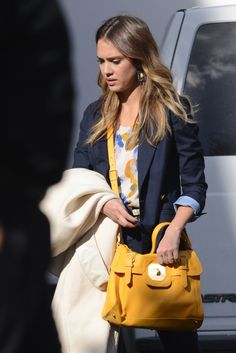 January 2013 - The American actress, Jessica Alba, has been spotted at Hollywood Studios with the new Gatsby Sport handbag from Longchamp. Credit TPG News
