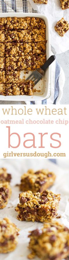 Whole Wheat Oatmeal Chocolate Chip Cookie Bars -- Delightful soft and chewy bites of oatmeal and melty chocolate with a little virtue from white whole wheat flour. Swapping out brown Sugar for maple or coconut sugar would be delicious too Best Dessert Recipes, Easy Desserts, Delicious Desserts, Oatmeal Chocolate Chip Cookies, Chocolate Muffins, Chocolate Bars, Brownie Recipes, Cookie Recipes, Soft Sugar Cookies