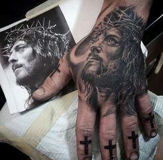 Mens Realistic Jesus Portrait Hand Tattoo
