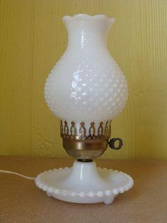 Vintage Hobnail Milk Glass Lamp - I own one of these as well as a wall lamp Milk Glass Lamp, Glass Lamps, Blue Lamp Shade, Vintage Lamps, Vintage Hurricane Lamps, Vintage Table, Vintage Decor, Fenton Glass, Unique Lamps