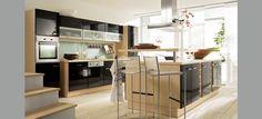 Puerta de cocina con tirador integrado en la puerta - Singular kitchen madrid ...