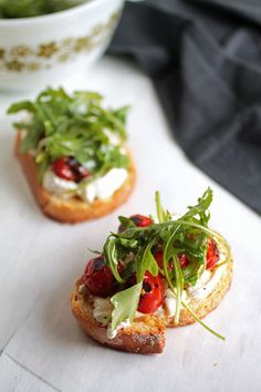 Easy Arugula Crostini with Blistered Tomatoes
