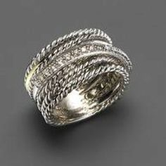 David Yurman Diamond Crossover Ring - want list Bling Bling, The Bling Ring, I Love Jewelry, Jewelry Box, Jewelry Accessories, Fashion Accessories, Fashion Jewelry, Jewlery, Gold Jewellery