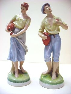 Royal Dux Porcelain Figurines, Young Couple - Czechoslovakia from seasideartgallery on Ruby Lane
